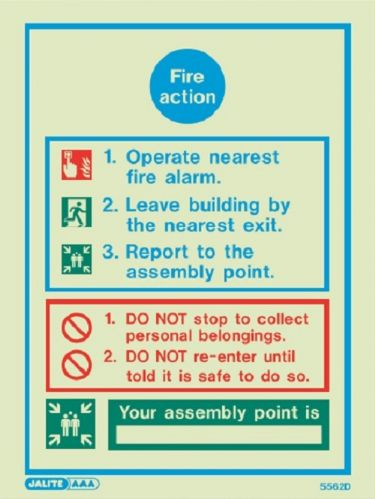 (5562D) Jalite Fire Action Notice Sign